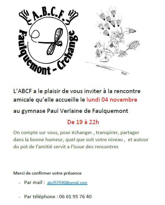 invitation badminton loisir ABCF 4 novembre 2019