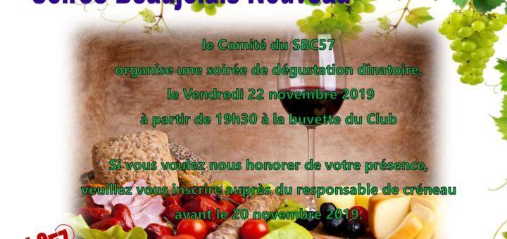 affiche soirée Beaujolais Nouveau 2019